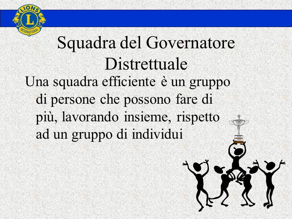 Squadra del Governatore Distrettuale Una squadra efficiente è un gruppo di persone che possono fare di più, lavorando insieme, rispetto ad un gruppo di individui