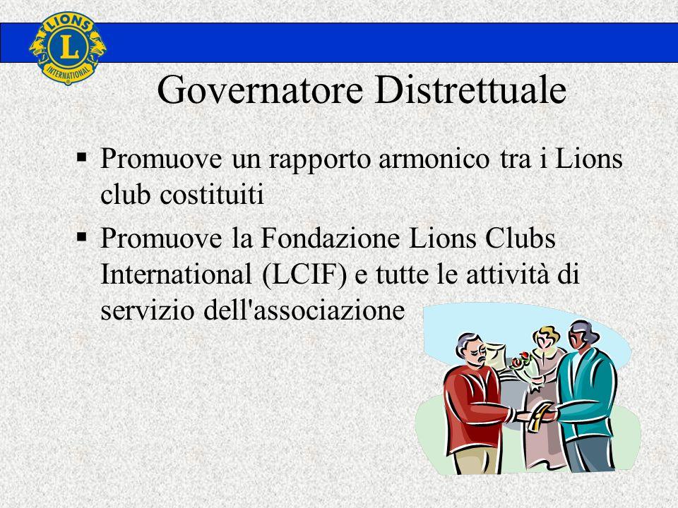 Governatore Distrettuale Promuove un rapporto armonico tra i Lions club costituiti Promuove la Fondazione Lions Clubs International (LCIF) e tutte le attività di servizio dell associazione