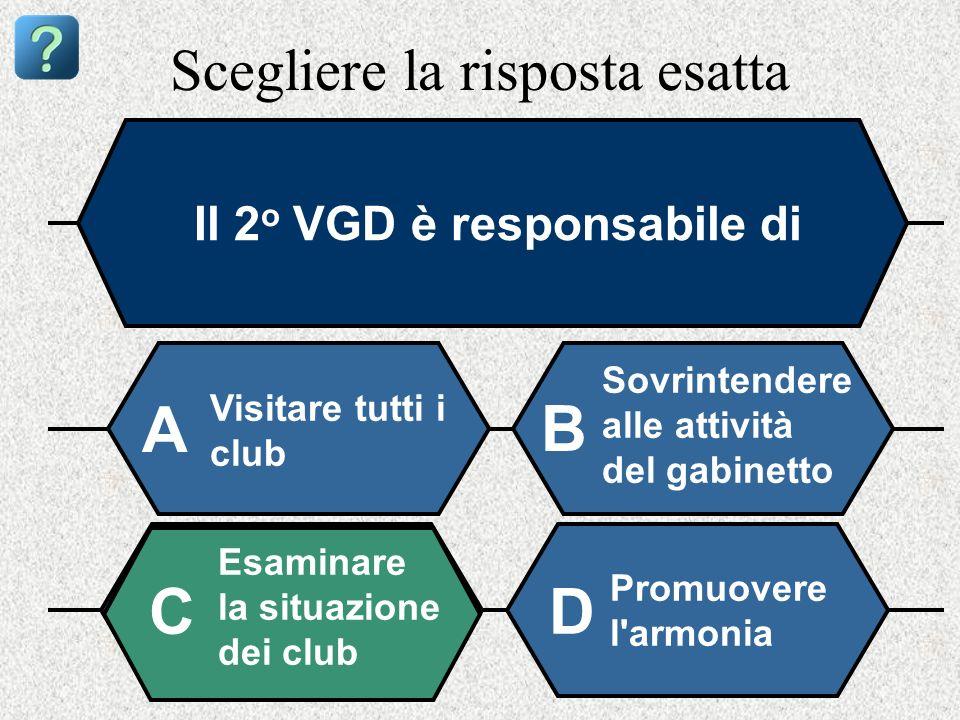 Scegliere la risposta esatta Il 2 o VGD è responsabile di Visitare tutti i club A B Sovrintendere alle attività del gabinetto Esaminare la situazione dei club Promuovere l armonia CD