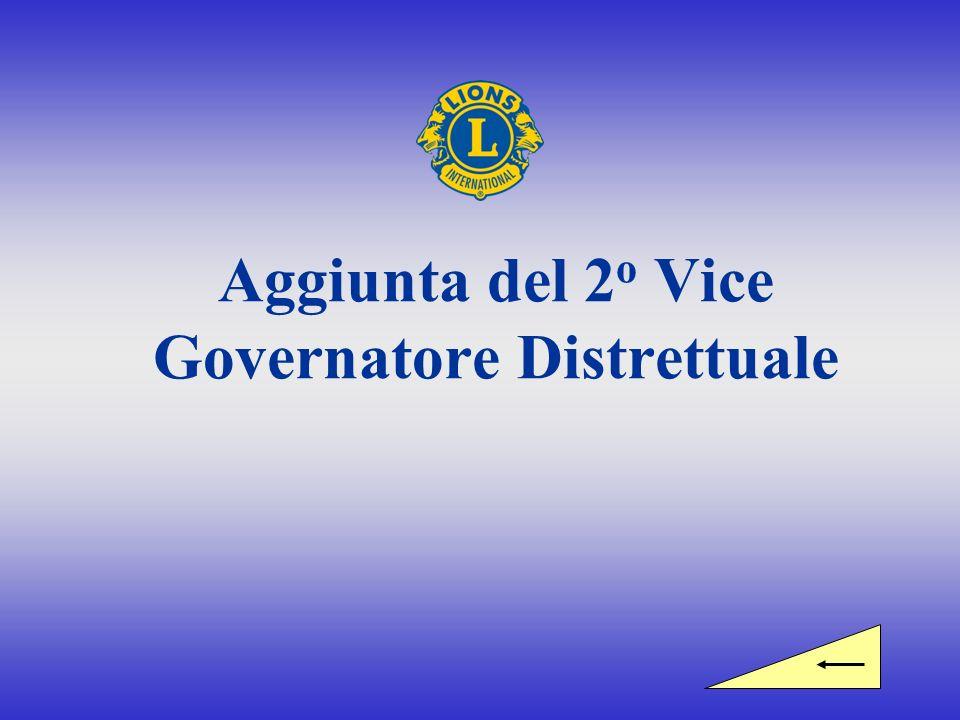 Squadra del Governatore Distrettuale Governatore Distrettuale 1 o Vice Governatore Distrettuale 2 o Vice Governatore Distrettuale Aggiunta approvata dal Consiglio direttivo di Lions Clubs International, marzo 2007