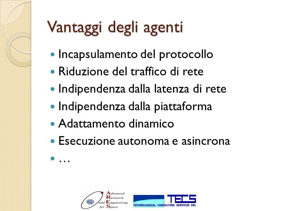 Vantaggi degli agenti Incapsulamento del protocollo Riduzione del traffico di rete Indipendenza dalla latenza di rete Indipendenza dalla piattaforma A