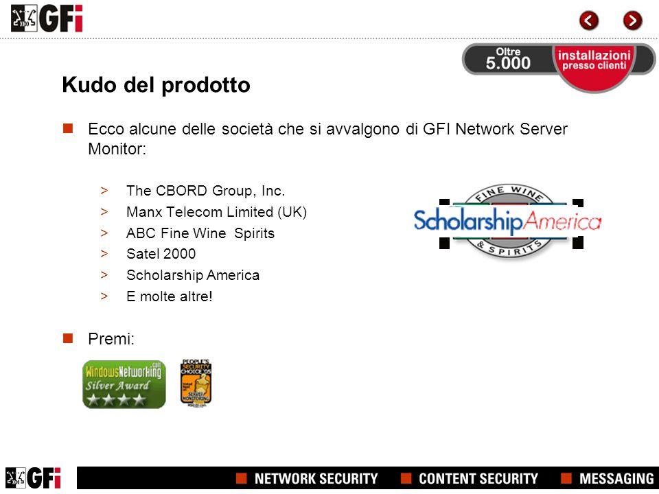 Kudo del prodotto Ecco alcune delle società che si avvalgono di GFI Network Server Monitor: >The CBORD Group, Inc.