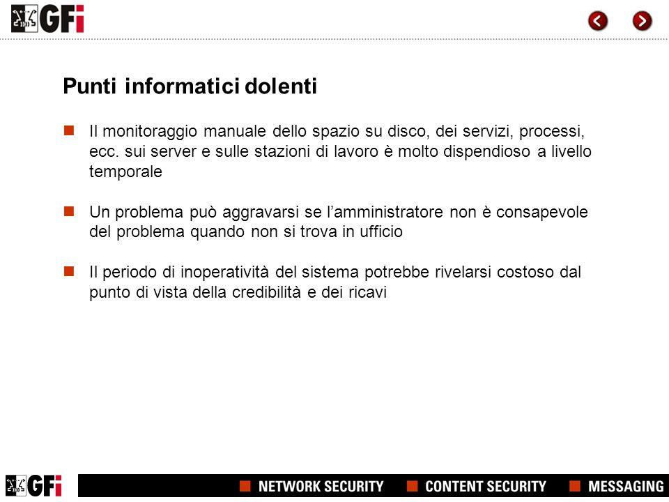 Punti informatici dolenti Il monitoraggio manuale dello spazio su disco, dei servizi, processi, ecc.