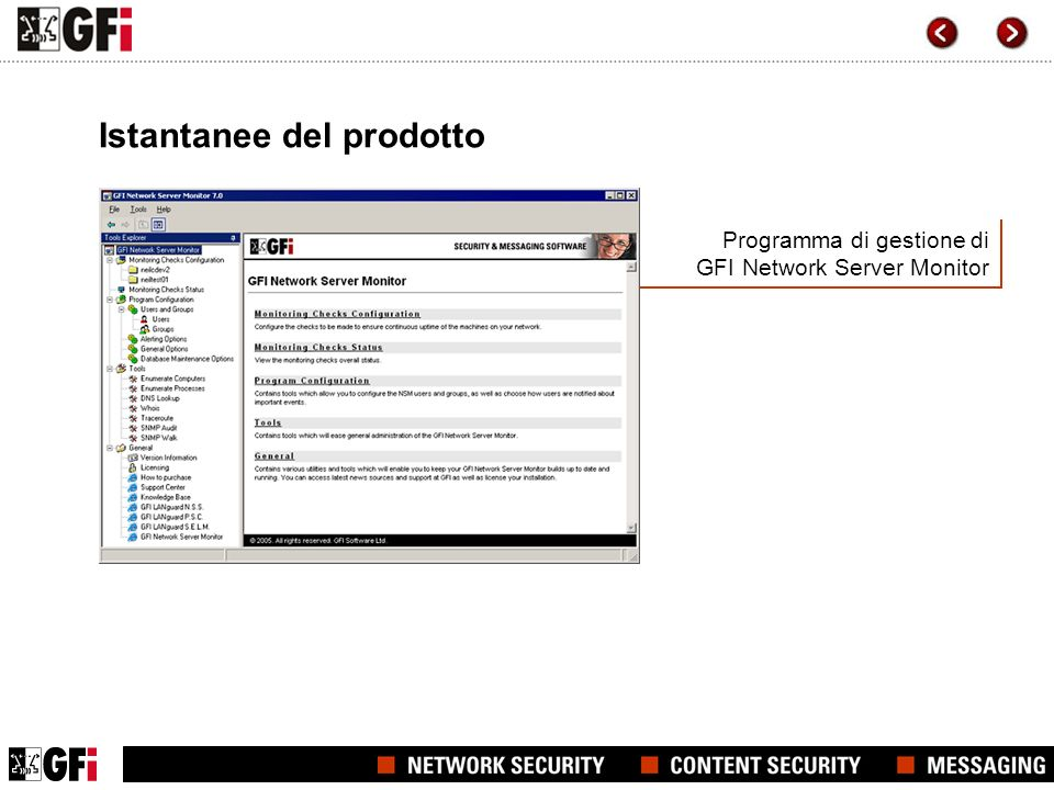 Programma di gestione di GFI Network Server Monitor Istantanee del prodotto