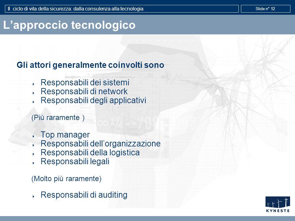 Il ciclo di vita della sicurezza: dalla consulenza alla tecnologia Slide n° 12 Lapproccio tecnologico Gli attori generalmente coinvolti sono Responsab