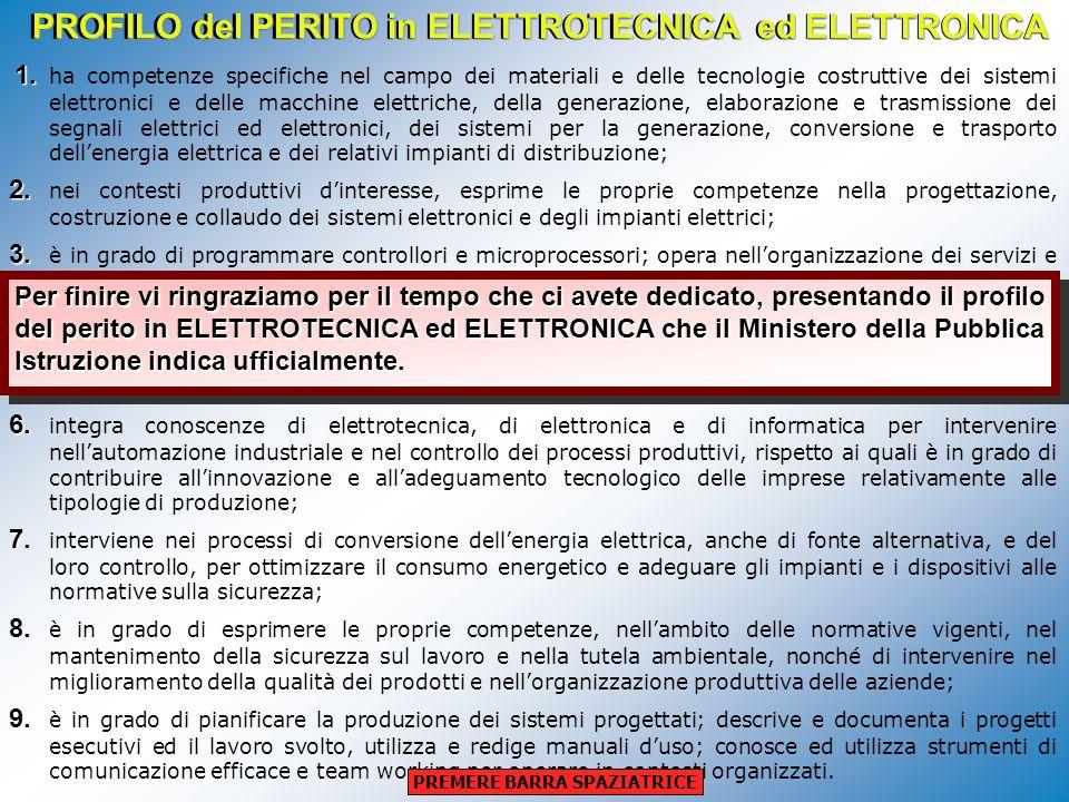 PROFILO del PERITO in ELETTROTECNICA ed ELETTRONICA 1. 1. ha competenze specifiche nel campo dei materiali e delle tecnologie costruttive dei sistemi