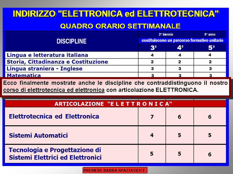 Potete osservare il quadro orario del triennio di elettronica, ovvero delle classi terza, quarta e quinta, riguardo alle sole discipline comuni a tutt