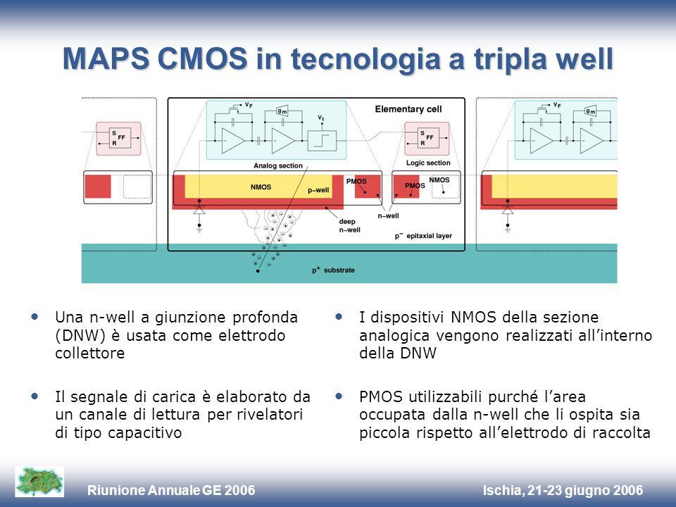 Ischia, 21-23 giugno 2006Riunione Annuale GE 2006 MAPS CMOS in tecnologia a tripla well Una n-well a giunzione profonda (DNW) è usata come elettrodo c