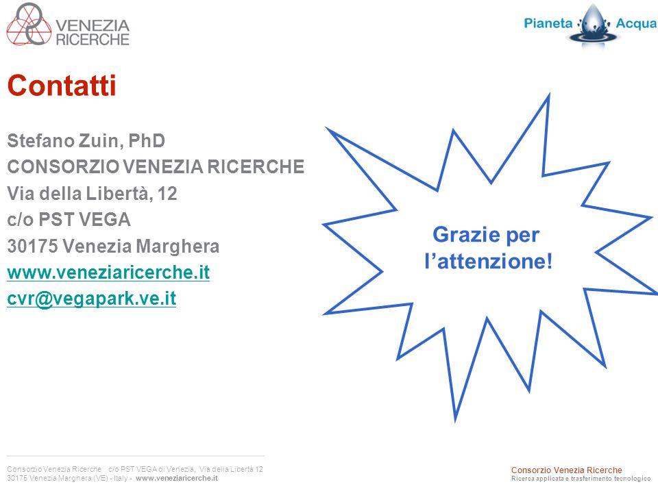 Consorzio Venezia Ricerche c/o PST VEGA di Venezia, Via della Libertà 12 30175 Venezia Marghera (VE) - Italy - www.veneziaricerche.it Consorzio Venezia Ricerche Ricerca applicata e trasferimento tecnologico Contatti Stefano Zuin, PhD CONSORZIO VENEZIA RICERCHE Via della Libertà, 12 c/o PST VEGA 30175 Venezia Marghera www.veneziaricerche.it cvr@vegapark.ve.it Grazie per lattenzione!