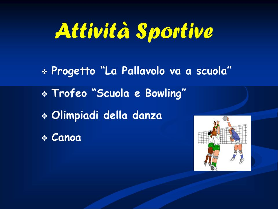 Progetto La Pallavolo va a scuola Trofeo Scuola e Bowling Olimpiadi della danza Canoa Attività Sportive