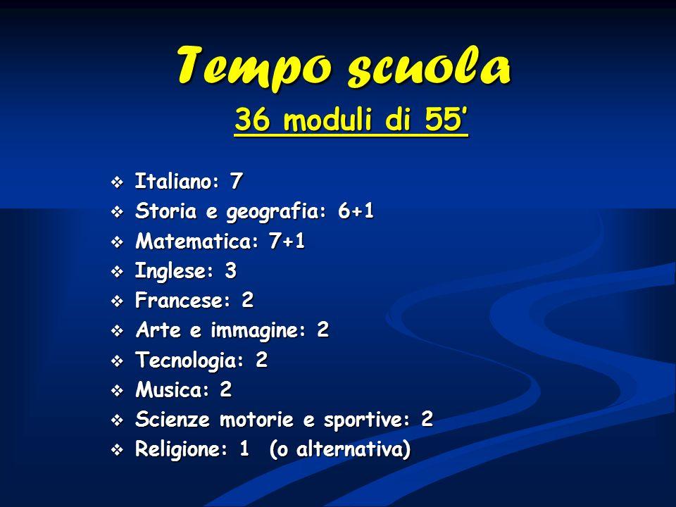 Tempo scuola 36 moduli di 55 Italiano: 7 Italiano: 7 Storia e geografia: 6+1 Storia e geografia: 6+1 Matematica: 7+1 Matematica: 7+1 Inglese: 3 Ingles