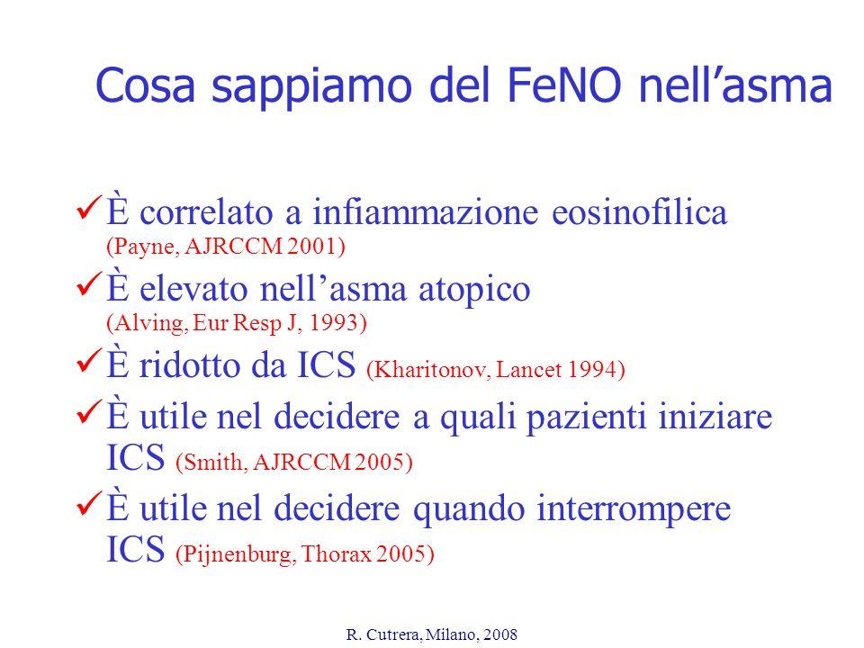 R. Cutrera, Milano, 2008 Cosa sappiamo del FeNO nellasma È correlato a infiammazione eosinofilica (Payne, AJRCCM 2001) È elevato nellasma atopico (Alv