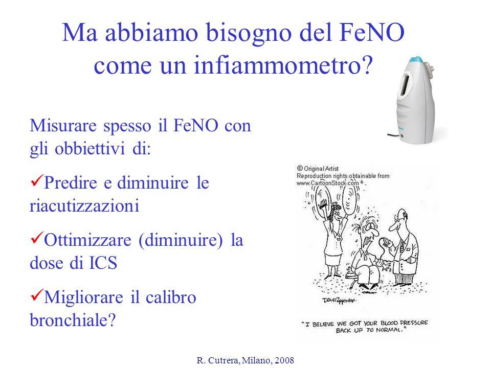 R. Cutrera, Milano, 2008 Ma abbiamo bisogno del FeNO come un infiammometro? Misurare spesso il FeNO con gli obbiettivi di: Predire e diminuire le riac