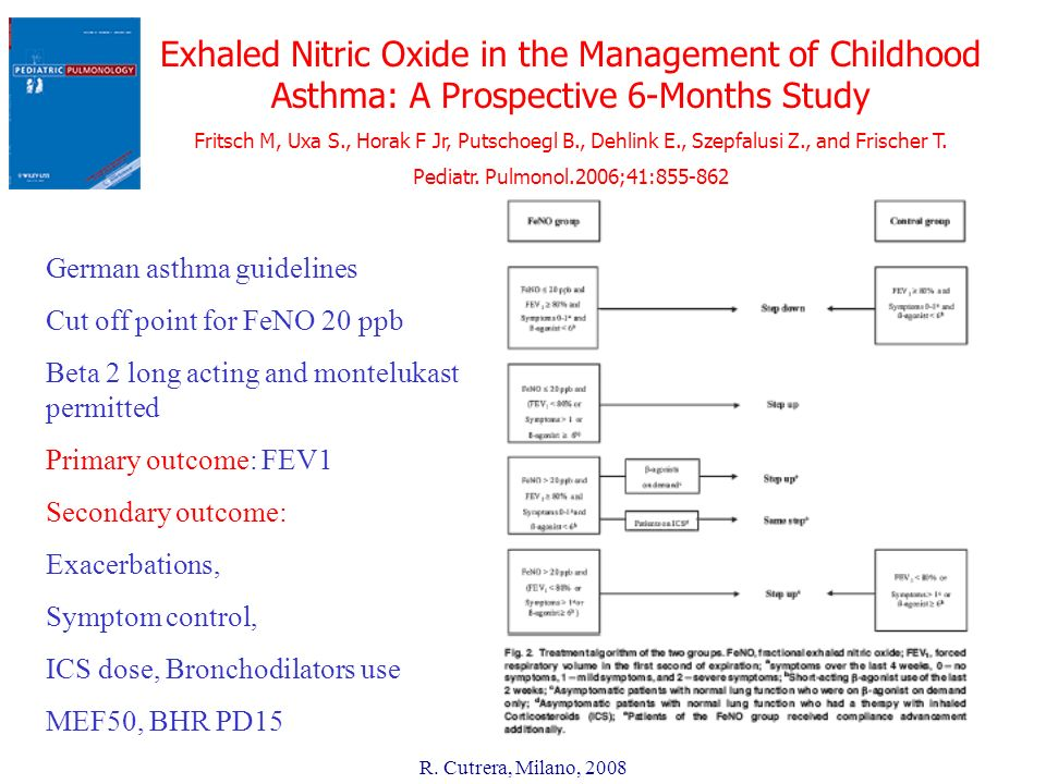R. Cutrera, Milano, 2008 Exhaled Nitric Oxide in the Management of Childhood Asthma: A Prospective 6-Months Study Fritsch M, Uxa S., Horak F Jr, Putsc