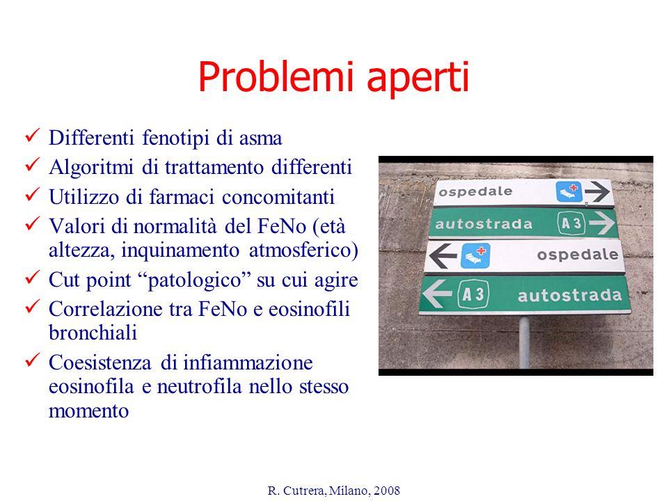 R. Cutrera, Milano, 2008 Problemi aperti Differenti fenotipi di asma Algoritmi di trattamento differenti Utilizzo di farmaci concomitanti Valori di no
