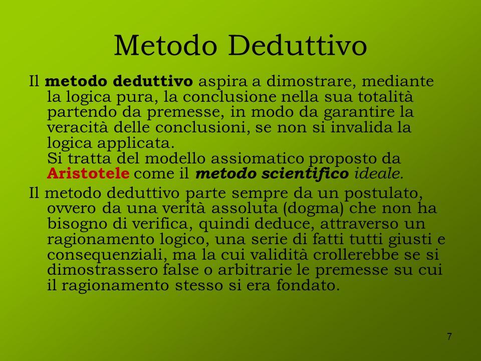 7 Metodo Deduttivo Il metodo deduttivo aspira a dimostrare, mediante la logica pura, la conclusione nella sua totalità partendo da premesse, in modo d