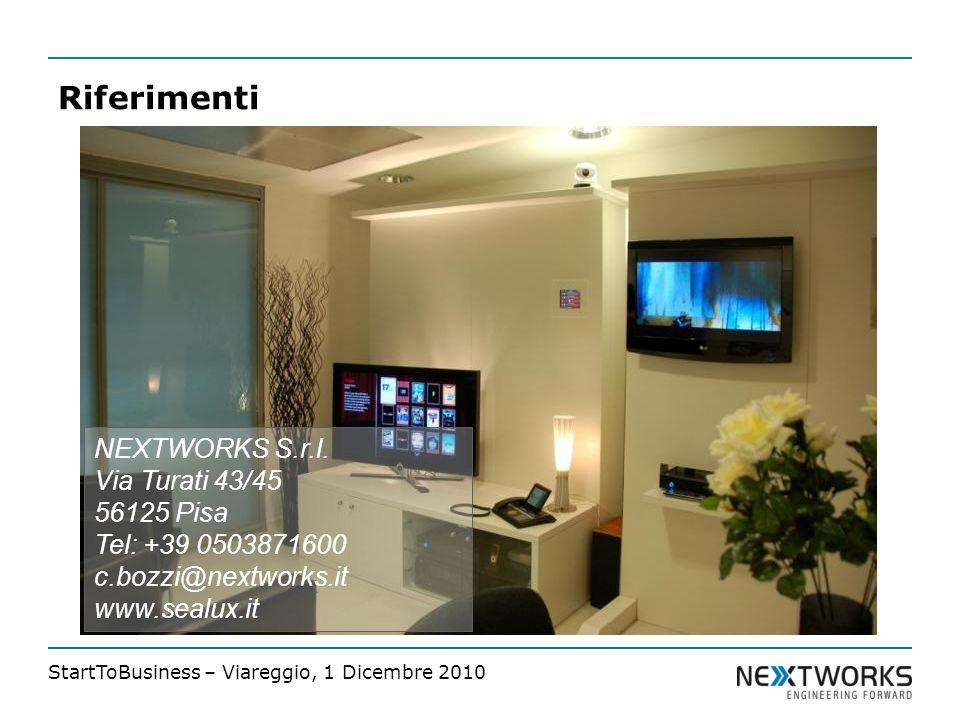 StartToBusiness – Viareggio, 1 Dicembre 2010 Riferimenti NEXTWORKS S.r.l.