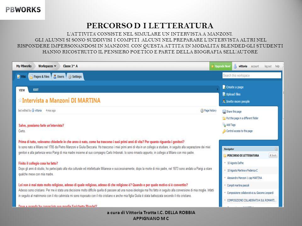 PERCORSO D I LETTERATURA ESEMPIO D I TESTO COLLABORATIVO SU GIACOMO LEOPARDI a cura di Vittoria Trotta I.C. DELLA ROBBIA APPIGNANO M C