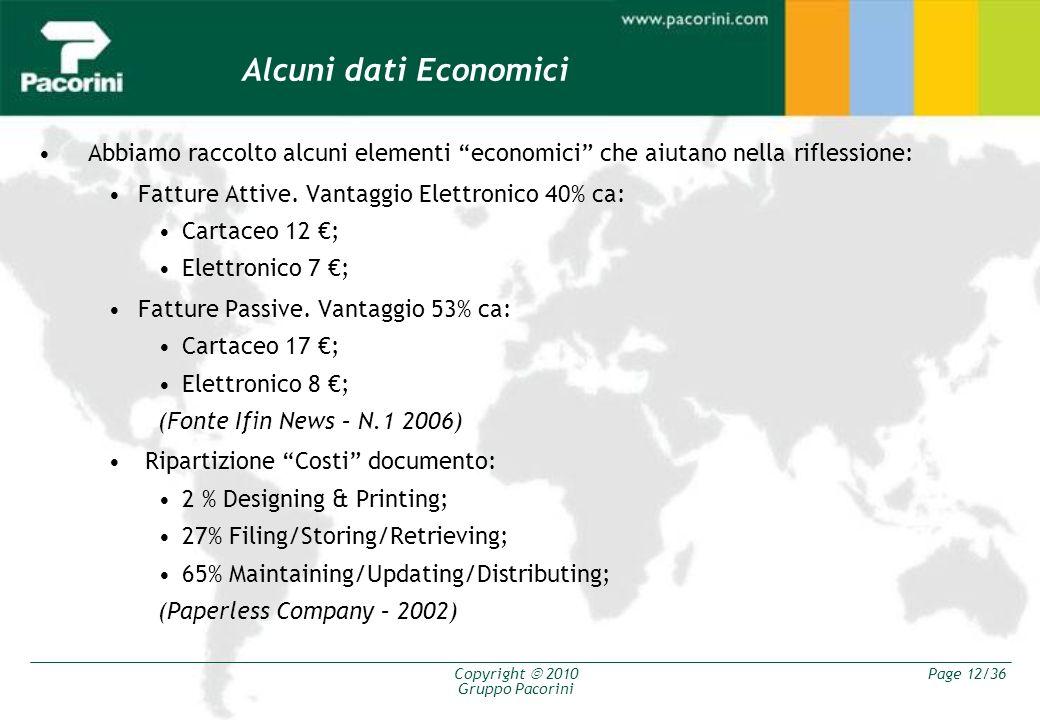Copyright 2010 Gruppo Pacorini Page 12/36 Alcuni dati Economici Abbiamo raccolto alcuni elementi economici che aiutano nella riflessione: Fatture Atti