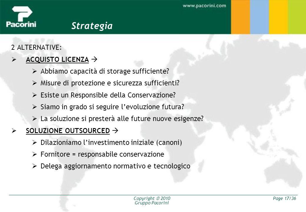 Copyright 2010 Gruppo Pacorini Page 17/36 Strategia 2 ALTERNATIVE: ACQUISTO LICENZA Abbiamo capacità di storage sufficiente? Misure di protezione e si