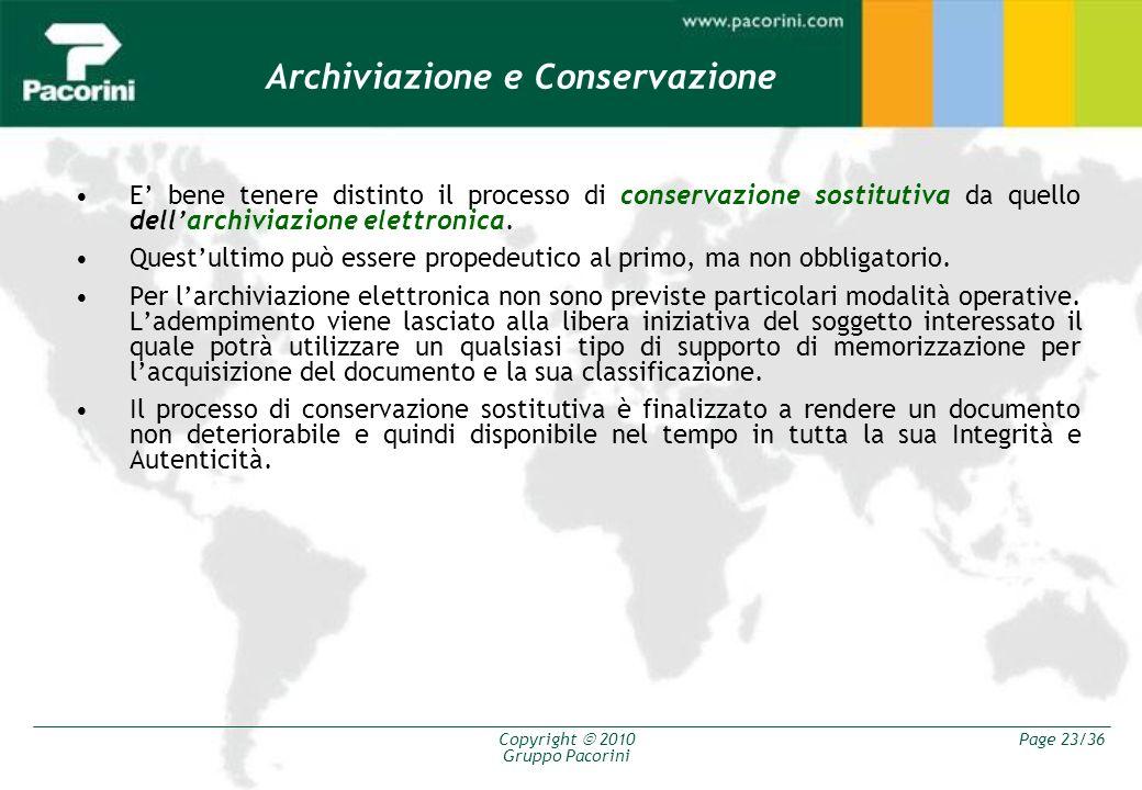 Copyright 2010 Gruppo Pacorini Page 23/36 E bene tenere distinto il processo di conservazione sostitutiva da quello dellarchiviazione elettronica. Que