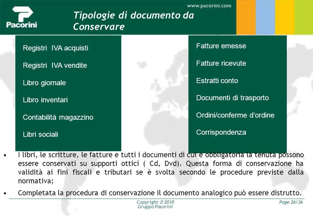 Copyright 2010 Gruppo Pacorini Page 26/36 Registri IVA acquisti Registri IVA vendite Libro giornale Libro inventari Contabilità magazzino Libri social