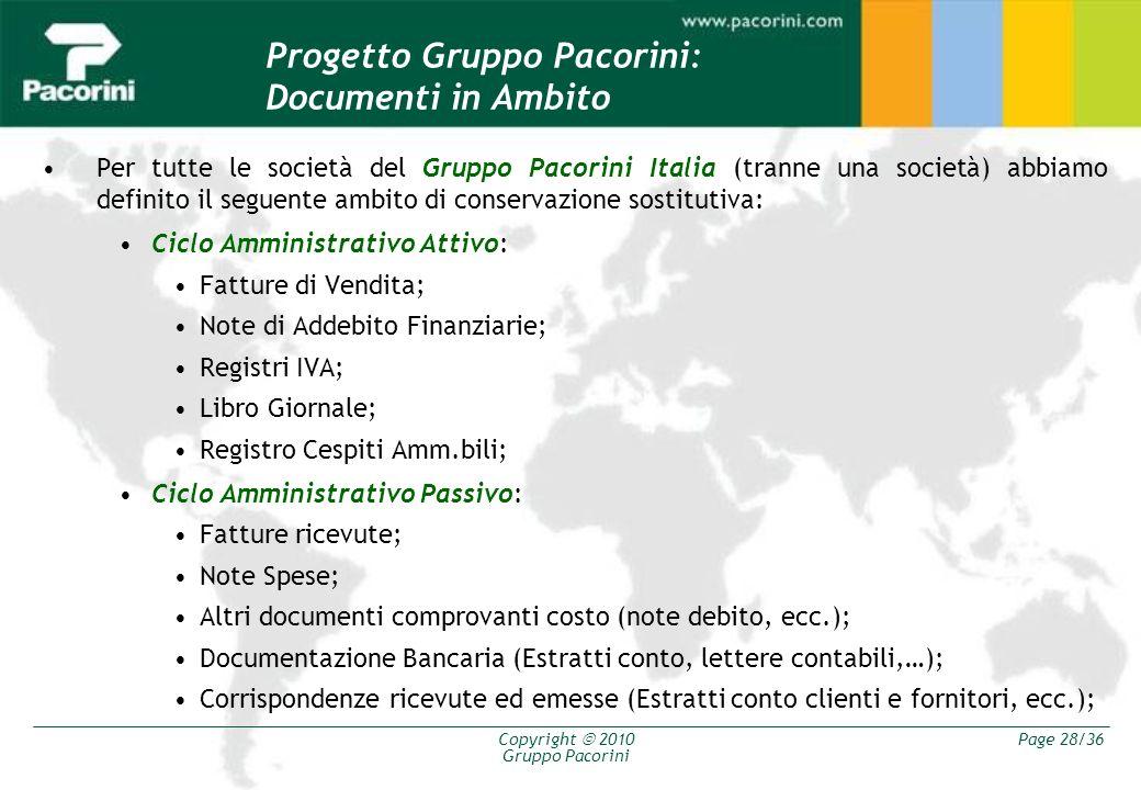 Copyright 2010 Gruppo Pacorini Page 28/36 Progetto Gruppo Pacorini: Documenti in Ambito Per tutte le società del Gruppo Pacorini Italia (tranne una so