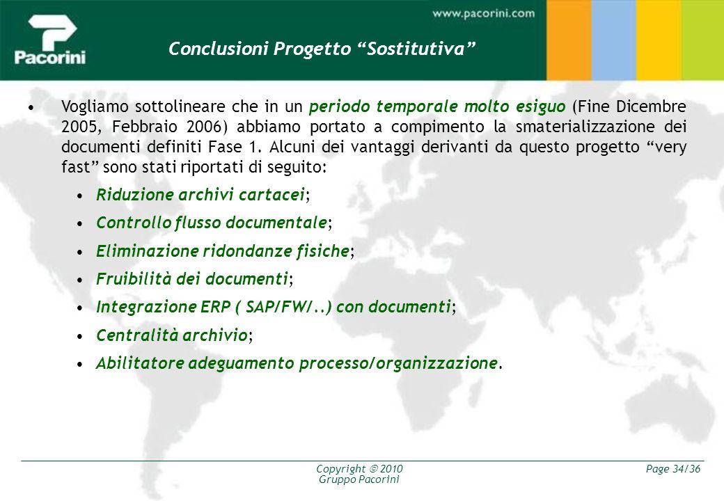 Copyright 2010 Gruppo Pacorini Page 34/36 Conclusioni Progetto Sostitutiva Vogliamo sottolineare che in un periodo temporale molto esiguo (Fine Dicemb