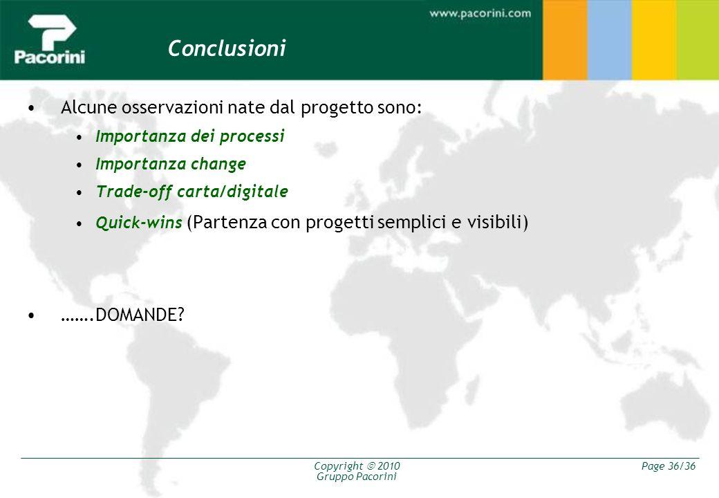 Copyright 2010 Gruppo Pacorini Page 36/36 Conclusioni Alcune osservazioni nate dal progetto sono: Importanza dei processi Importanza change Trade-off
