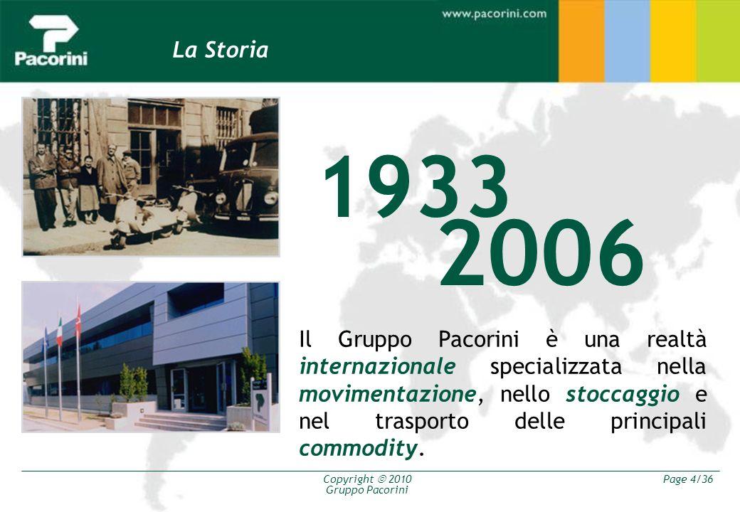 Copyright 2010 Gruppo Pacorini Page 4/36 La Storia Il Gruppo Pacorini è una realtà internazionale specializzata nella movimentazione, nello stoccaggio