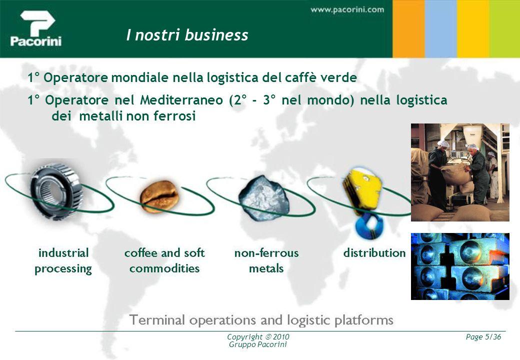 Copyright 2010 Gruppo Pacorini Page 5/36 I nostri business 1° Operatore mondiale nella logistica del caffè verde 1° Operatore nel Mediterraneo (2° - 3
