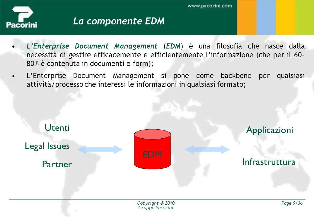 Copyright 2010 Gruppo Pacorini Page 9/36 La componente EDM LEnterprise Document Management (EDM) è una filosofia che nasce dalla necessità di gestire