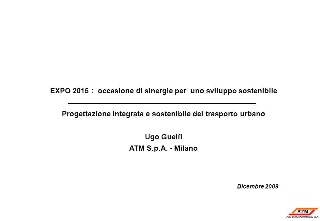 EXPO 2015 : occasione di sinergie per uno sviluppo sostenibile Progettazione integrata e sostenibile del trasporto urbano Ugo Guelfi ATM S.p.A. - Mila
