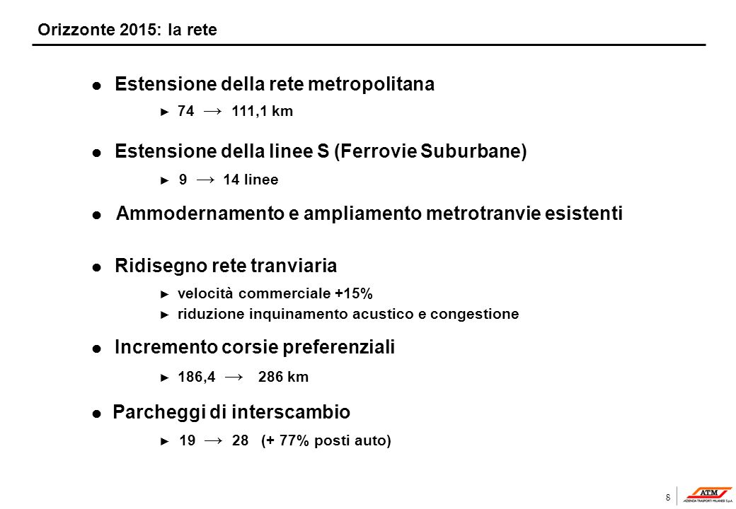 8 Orizzonte 2015: la rete l Estensione della rete metropolitana 74 111,1 km l Estensione della linee S (Ferrovie Suburbane) 9 14 linee l Ammodernament
