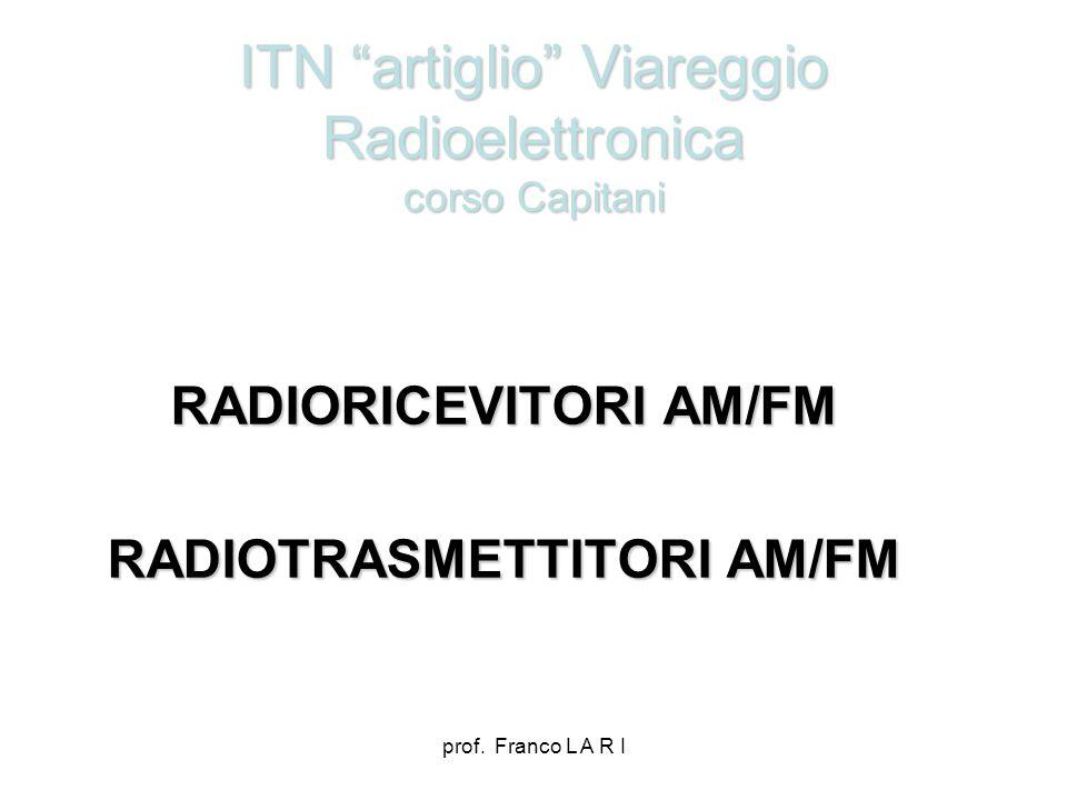 prof. Franco L A R I ITN artiglio Viareggio Radioelettronica corso Capitani RADIORICEVITORI AM/FM RADIOTRASMETTITORI AM/FM