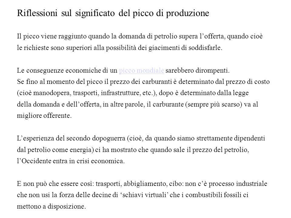 Riflessioni sul significato del picco di produzione Il picco viene raggiunto quando la domanda di petrolio supera lofferta, quando cioè le richieste sono superiori alla possibilità dei giacimenti di soddisfarle.
