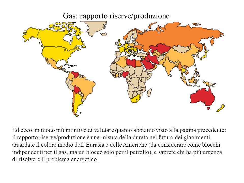 Gas: rapporto riserve/produzione Ed ecco un modo più intuitivo di valutare quanto abbiamo visto alla pagina precedente: il rapporto riserve/produzione è una misura della durata nel futuro dei giacimenti.