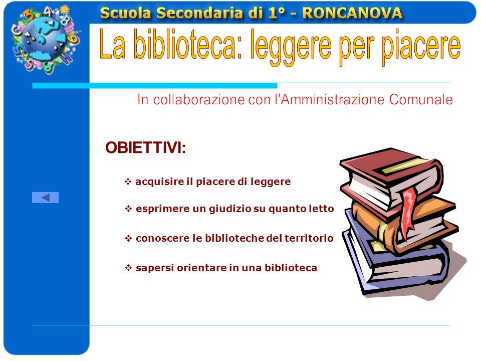 OBIETTIVI: acquisire il piacere di leggere esprimere un giudizio su quanto letto sapersi orientare in una biblioteca conoscere le biblioteche del territorio