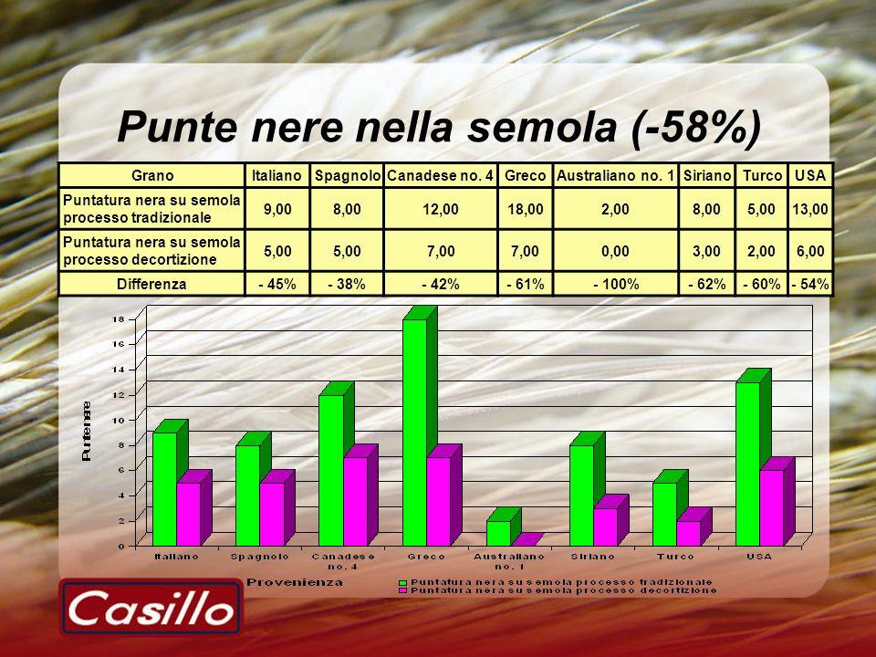 Punte nere nella semola (-58%) GranoItalianoSpagnoloCanadese no. 4GrecoAustraliano no. 1SirianoTurcoUSA Puntatura nera su semola processo tradizionale