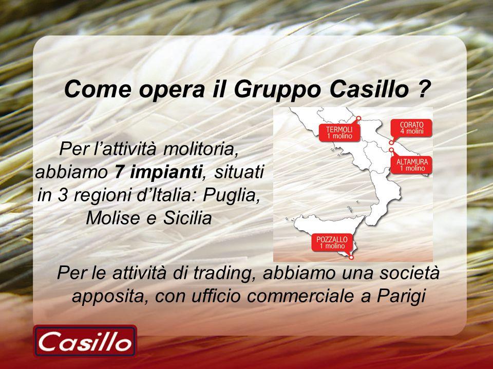 Come opera il Gruppo Casillo ? Per lattività molitoria, abbiamo 7 impianti, situati in 3 regioni dItalia: Puglia, Molise e Sicilia Per le attività di
