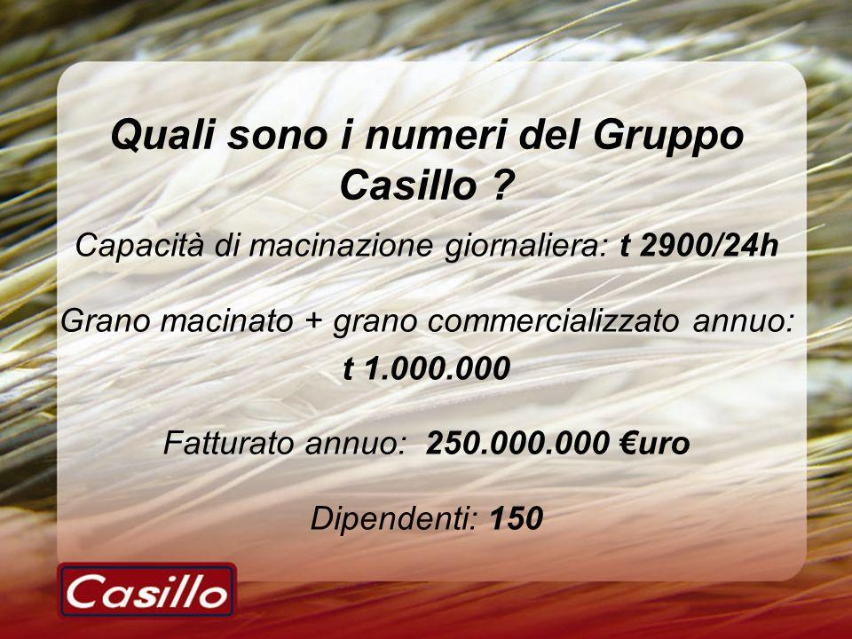 Quali sono i numeri del Gruppo Casillo ? Capacità di macinazione giornaliera: t 2900/24h Grano macinato + grano commercializzato annuo: t 1.000.000 Fa