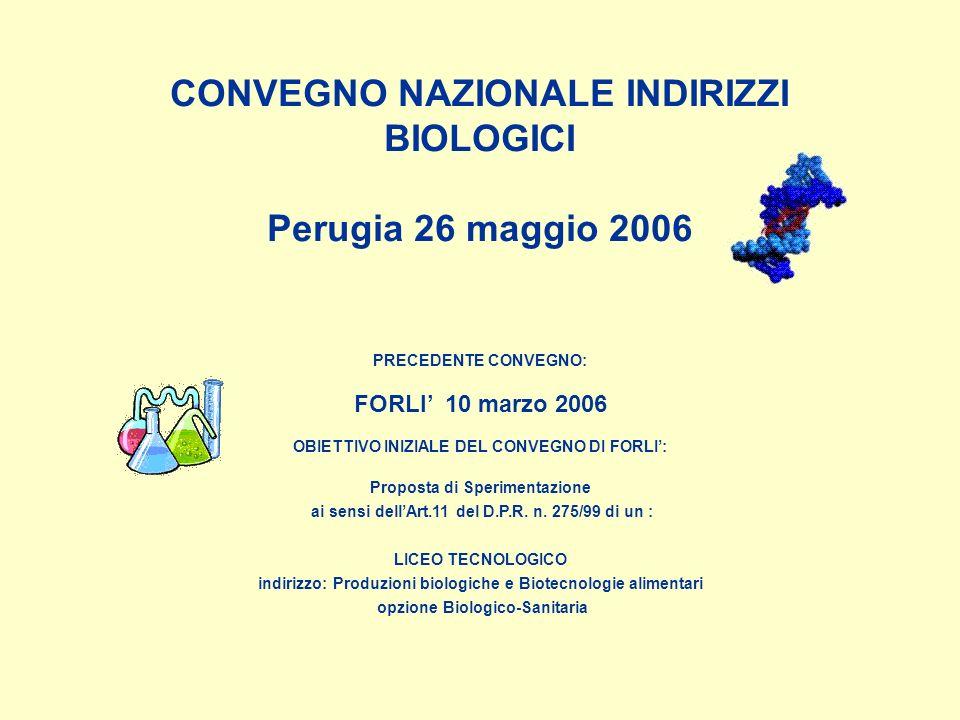 CONVEGNO NAZIONALE INDIRIZZI BIOLOGICI Perugia 26 maggio 2006 PRECEDENTE CONVEGNO: FORLI 10 marzo 2006 OBIETTIVO INIZIALE DEL CONVEGNO DI FORLI: Proposta di Sperimentazione ai sensi dellArt.11 del D.P.R.