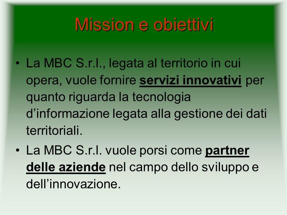 Mission e obiettivi La MBC S.r.l., legata al territorio in cui opera, vuole fornire servizi innovativi per quanto riguarda la tecnologia dinformazione