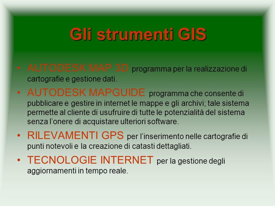 Gli strumenti GIS AUTODESK MAP 3D programma per la realizzazione di cartografie e gestione dati. AUTODESK MAPGUIDE programma che consente di pubblicar