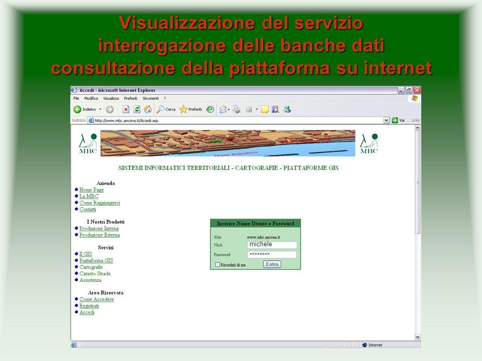 Visualizzazione del servizio interrogazione delle banche dati consultazione della piattaforma su internet michele ********