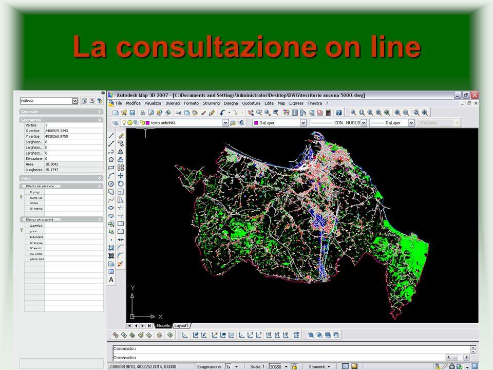 Podgora 2/a 2 Search La navigazione della cartografia avviene attraverso un sistema di query analogo a MICROSOFT ACCESS; I criteri di ricerca sono assolutamente personalizzabili; La ricerca nel database individua il corrispondente oggetto grafico sulla carta Rif.