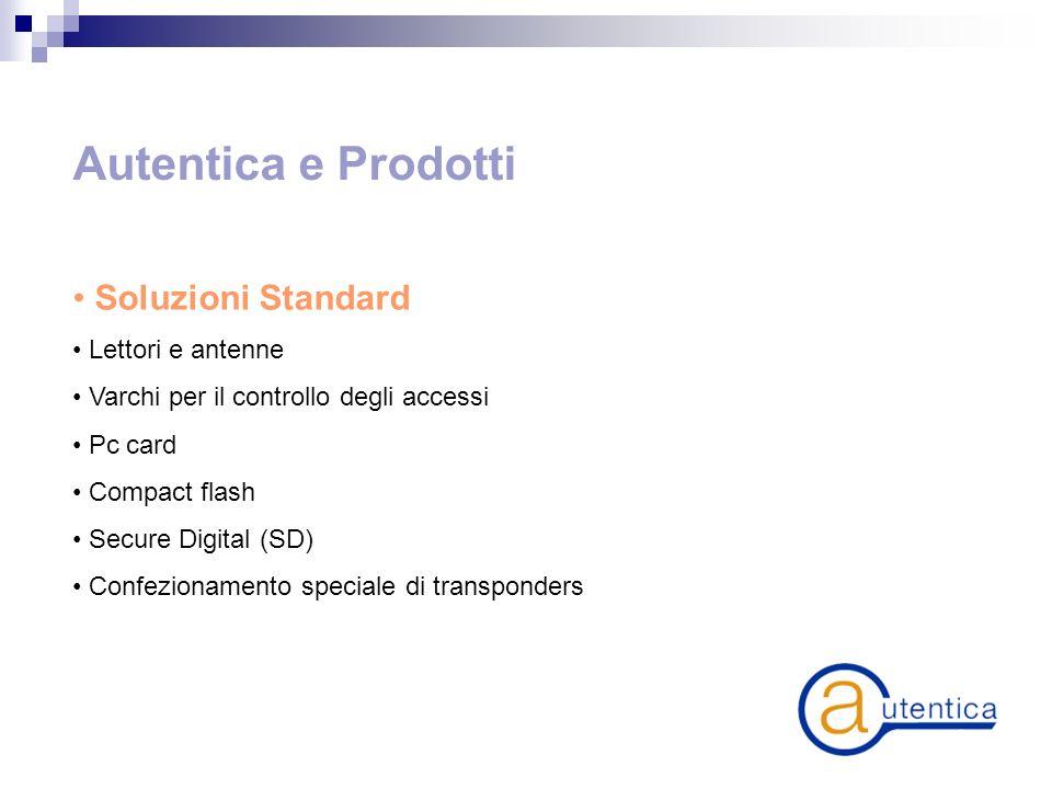 Autentica e Prodotti Soluzioni Standard Lettori e antenne Varchi per il controllo degli accessi Pc card Compact flash Secure Digital (SD) Confezionamento speciale di transponders