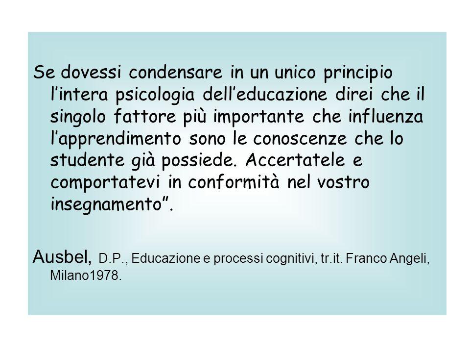 Se dovessi condensare in un unico principio lintera psicologia delleducazione direi che il singolo fattore più importante che influenza lapprendimento sono le conoscenze che lo studente già possiede.