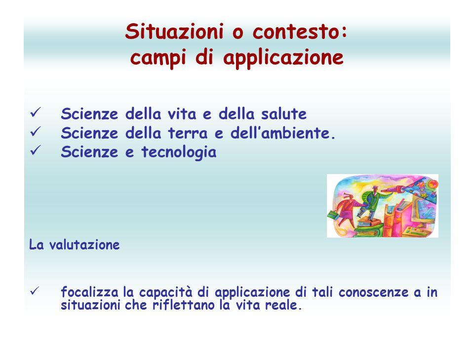 Situazioni o contesto: campi di applicazione Scienze della vita e della salute Scienze della terra e dellambiente.