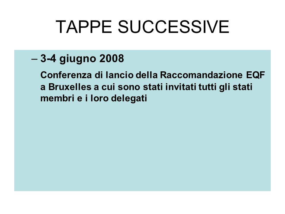 TAPPE SUCCESSIVE –3-4 giugno 2008 Conferenza di lancio della Raccomandazione EQF a Bruxelles a cui sono stati invitati tutti gli stati membri e i loro delegati
